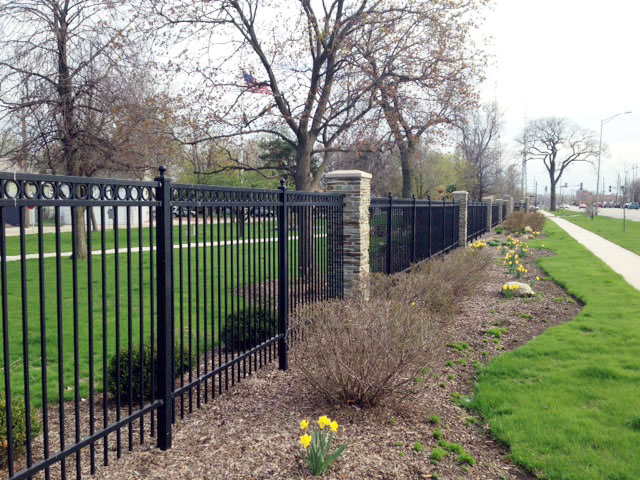 All star fence photo gallery samples of our work for Brick and wrought iron fence